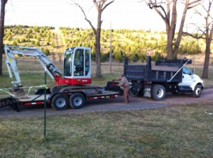 The Dump Truck with Trailer and Excavator
